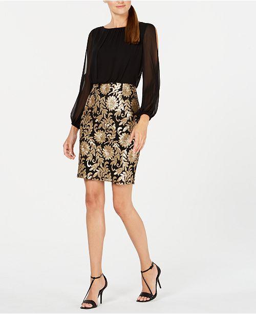 Calvin Klein Sequin Sheath Dress & Reviews - Dresses - Women - Macy