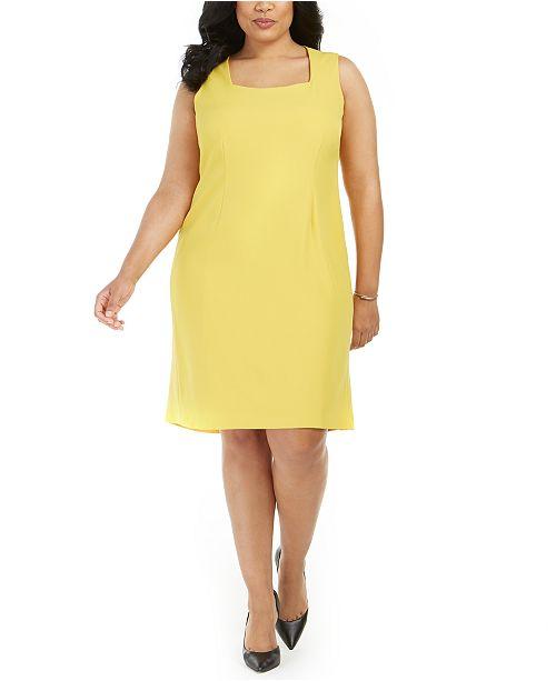 Kasper Plus Size Stand-Collar Blazer & Flounce Sheath Dress .