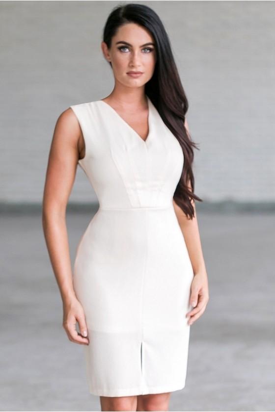 Cream Sheath Dress | Beige Rehearsal Dinner Dress Online | Lily .