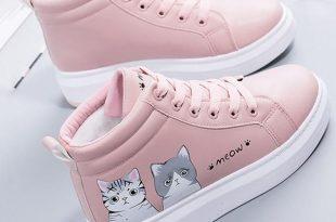Boots Girls Vogue Cute Cartoon Cat Thick Backside Footwear Heat .