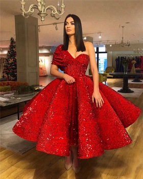 Luxury Red Sequin Prom Dress Arabic Short Sexy Woman Wear Party .