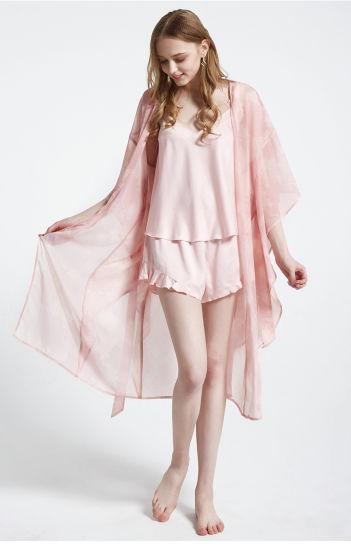 China Ladies Summer Women Pyjama Sets Lace Satin Silk Pyjamas .