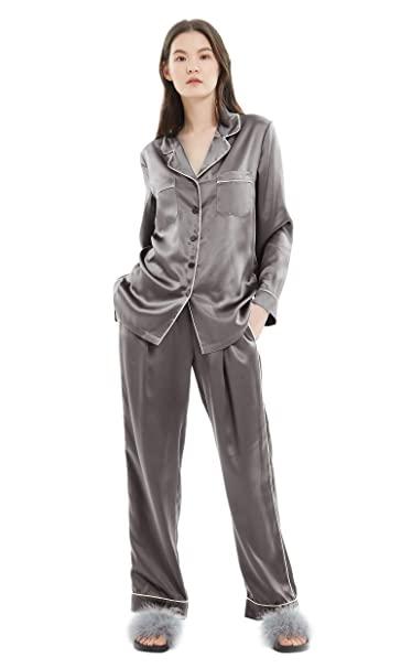 LILYSILK Ladies Gold Piping Silk Pyjamas Set Comfy Two Piece Set .