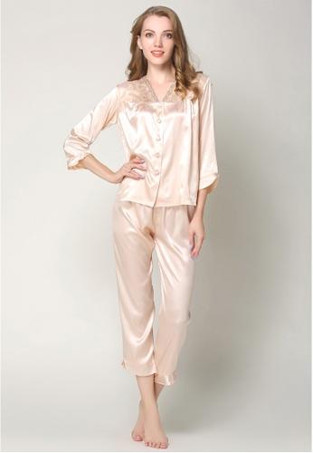 Buy SMROCCO Silk Long Sleeve Long Pants Pyjamas Set L7019-CAM .