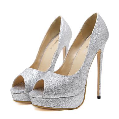 Women's Stilettos - Extremely High Heel / Open Toe / Sparkly / Silv