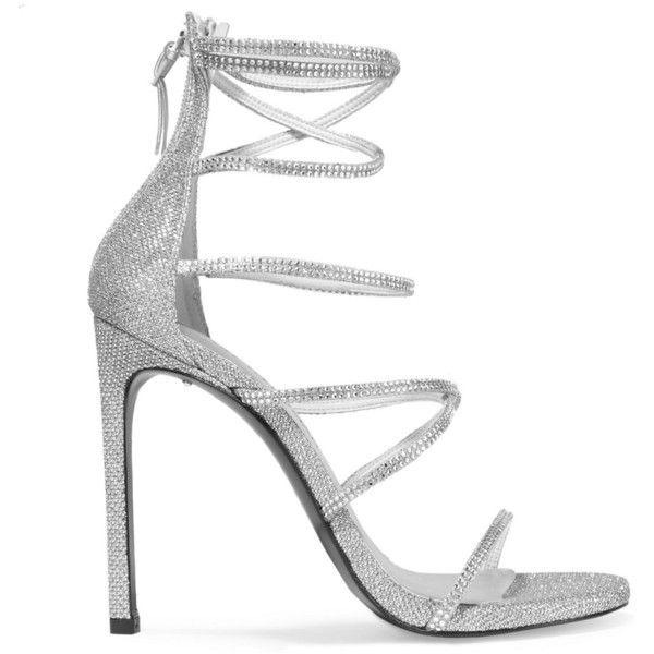 Stuart Weitzman Galaxy embellished glittered mesh sandals ($545 .