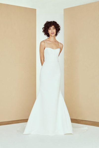 Spaghetti Strap Fit And Flare Simple Wedding Dress | Kleinfeld Brid