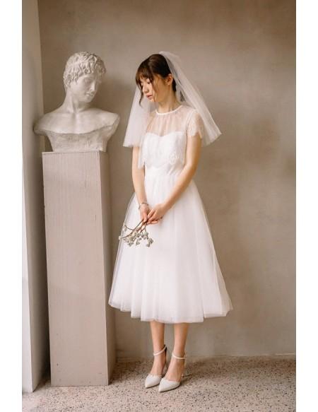 Vintage Short Tulle Tea Length Simple Wedding Dress with .