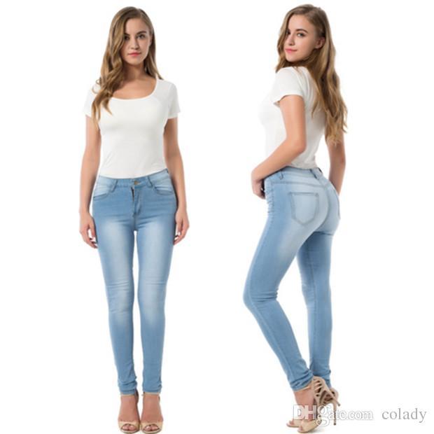 2020 Fashion Elastic Skinny Jeans Women Pencil Pants Casual .