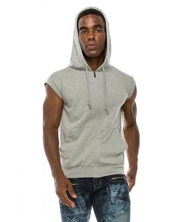 Men's Sleeveless Hoodie Zip Up Midweight Cotton Vest - H.grey .