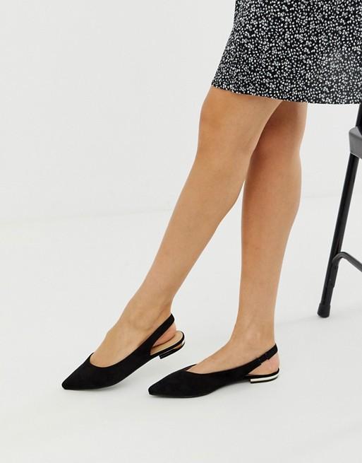RAID Agatha black flat sling back shoes   AS