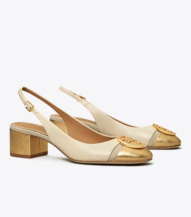 Tory Burch Minnie Metallic Cap-toe Slingback Pump: Women's Shoes .