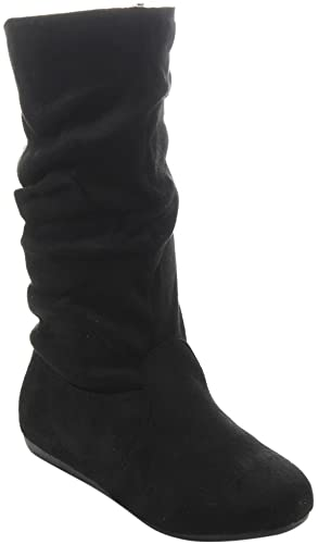 Amazon.com | Link Girl's Mid-Calf Solid Color Flat Heel Slouch .