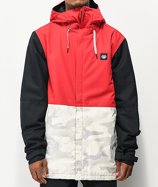 686 Foundation Snow Camo, Red & Black 10K Snowboard Jacket   Zumi