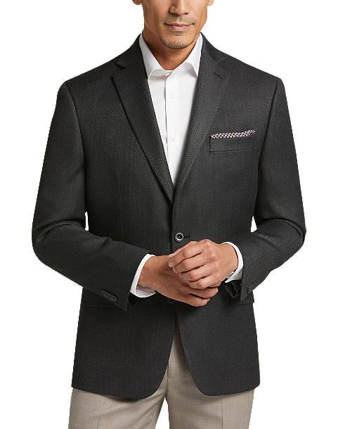 Michael by Michael Kors Modern Fit Gray Herringbone Sport Coat .