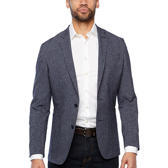 Stafford Mens Light and Cool Slim Fit Sport Coat, Color: Navy .