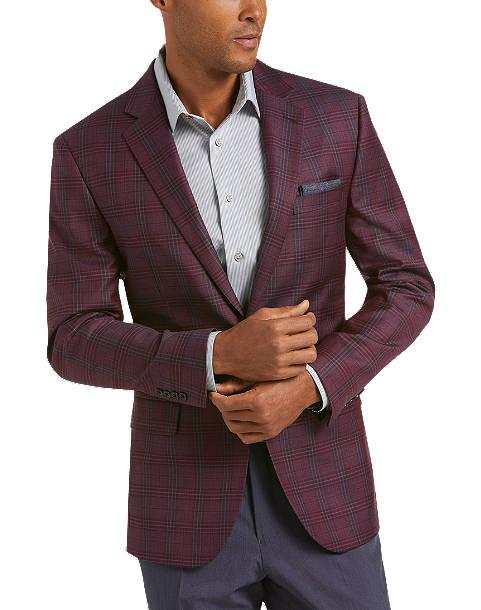 Egara Burgundy Plaid Slim Fit Sport Coat - Men's Sport Coats .