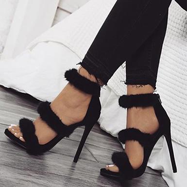 Women's Stilettos Shoes - Three Straps / Fluffy Design / Bla
