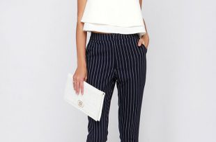 Navy Blue Pants - Striped Pants - High-Waisted Pants - $46.