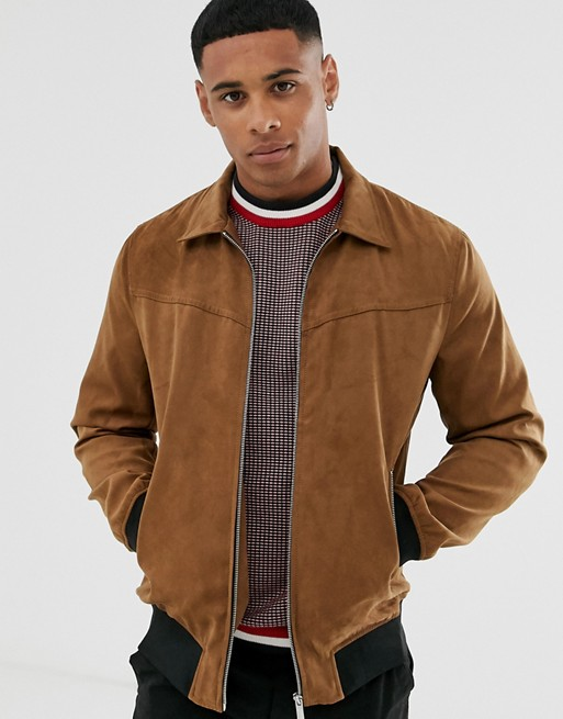 Only & Sons faux suede jacket in brown   AS