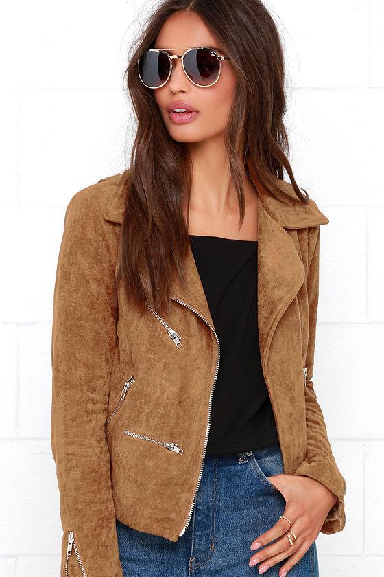 Suede Jacket - Moto Jacket - Tan Jack