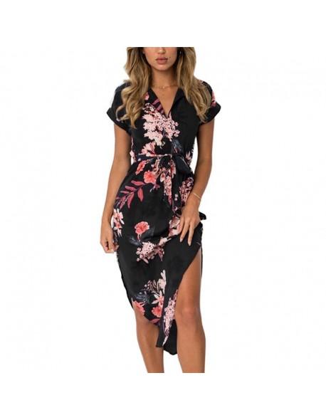 Women Floral Print Beach Dress Fashion Boho Summer Dresses Ladies .