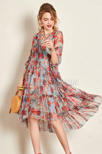eDressit Simple Silk Printed Dress Women Dress Summer Dress .