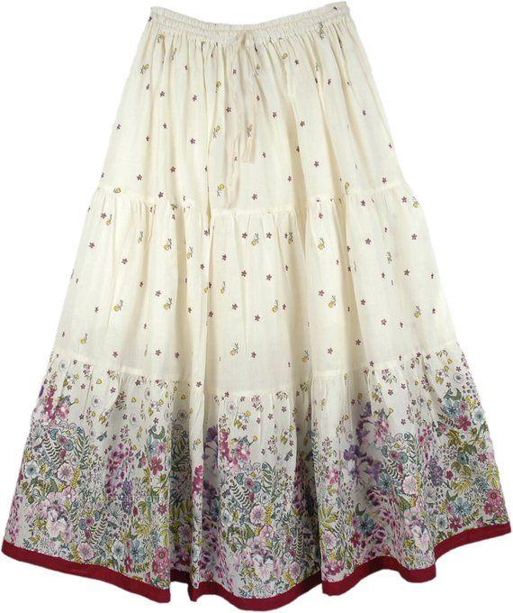Floral Summer Cotton Long Full Women's Maxi Skirt in Off White .