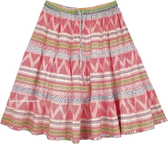 Fiesta Red Full Cotton Short Skirt for Summer | Short-Skirts .