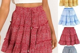 Casual Floral Skirt High Waist Ruffled Beach Short Skirts Women .