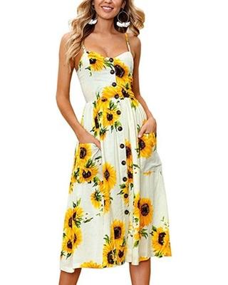 Great Summer Sales On Topcobe Sun Flower Print Ladies Dresses Or .