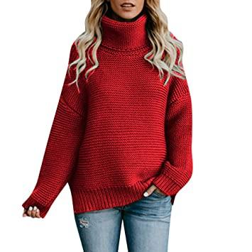 Amazon.com: Kanhan Women Loose Long Sleeve Turtleneck Knitted Warm .