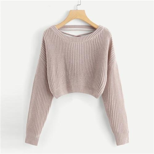 Pink Criss Cross V Back Winter Crop Knitted Sweater Women Clothes .