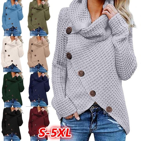 Fashion Women Turtleneck Irregular Hem Loose Knited Sweaters for .