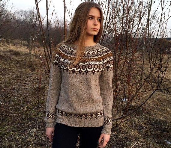 Fair Isle sweater Taupe sweater Women's sweater Norvegian by adaLV .