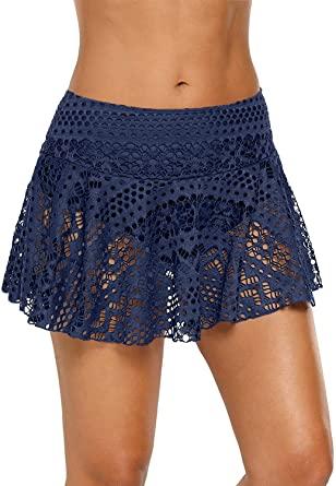Amazon.com: Jersri Women Swim Skirts Bottoms,Lace Crochet Low .
