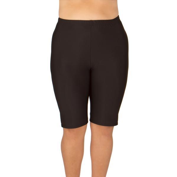 Women's Plus Size Swim or Bike Shorts - Long (Black) | Curvy .