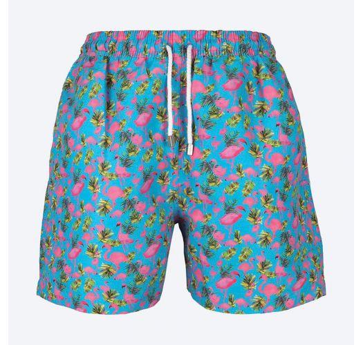 Turquoise Swimming Shorts With Flamingo Motifs - Flamingos Azul .