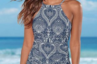 Mandala Printed High Neck Tankini Swimsuit - Two Piece Set – Bikinis