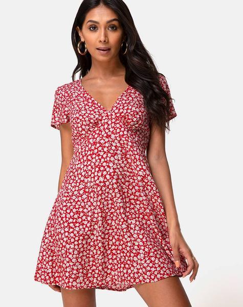 V Neckline Red and Silver Floral Mini Dress | Elara – motelrocks.c