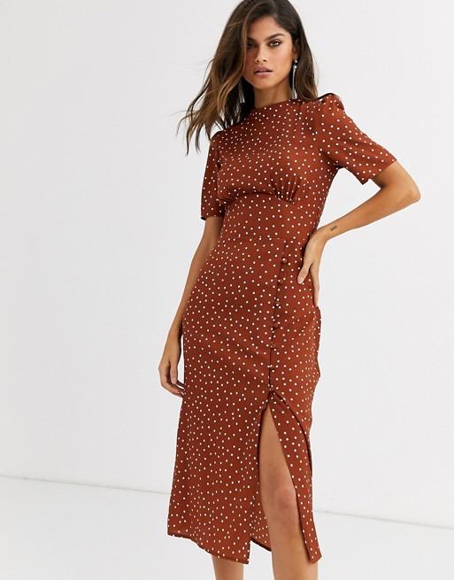 ASOS DESIGN midi tea dress with buttons in polka dot | AS