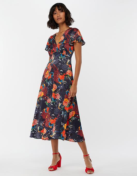 Olive Oriental Print Tea Dress | Grey | UK 12 / US 8 / EU 40 .