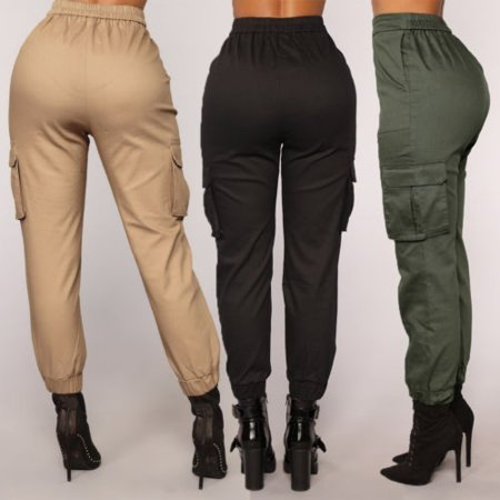 Meihuida - Casual Cargo Trousers for Women Cotton Pants Solid Punk .