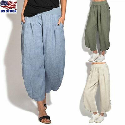 Women's Cotton Linen Loose Harem Baggy Pants Summer Long .