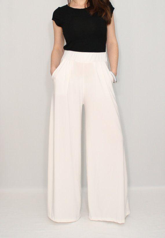 Women ivory pants with pockets, wide leg pants, trousers   Pants .