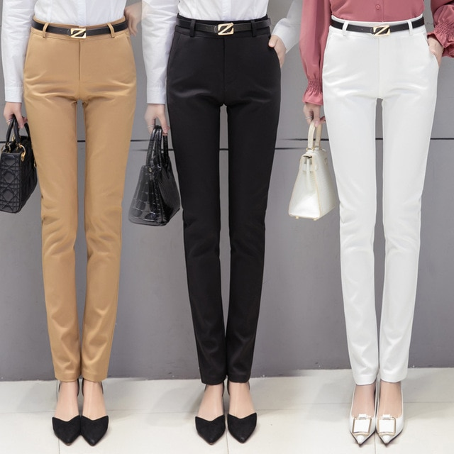 Lady Slim Fit Dress Pants For Women Formal Trousers Wear to work .