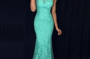 Mermaid High Neck Sweep Train Turquoise Sleeveless Lace Prom Dress .