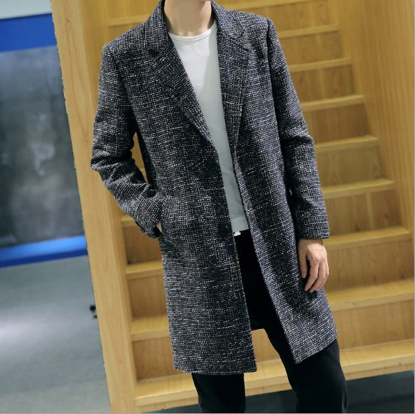 Mens Autumn Spring Long Blazer Tweed Jacket Single Breasted Trench .