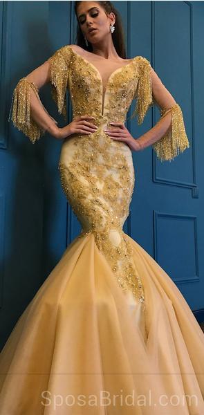 Unique Design Yellow Gold Modest Fashion Newest Long Prom Dresses .