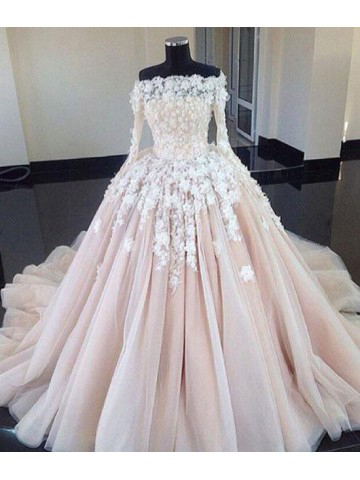 Ball Gown Wedding Dresses,Unique Wedding Dress,,Long Sleeves .